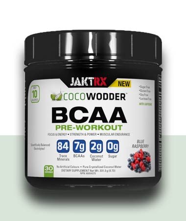 CocoWodder Pre-Workout -  BCAAs with Caffeine - Blue Raspberry flavour