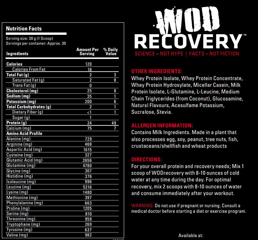 Label for WOD Recovery - Chocolate Milkshake