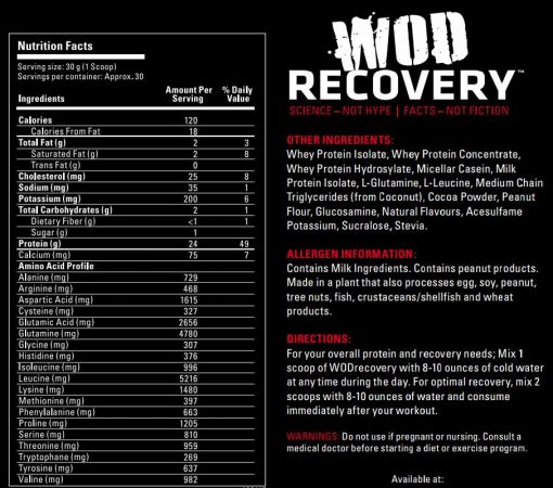 Label for WOD Recovery - Peanut Butter Chocolate